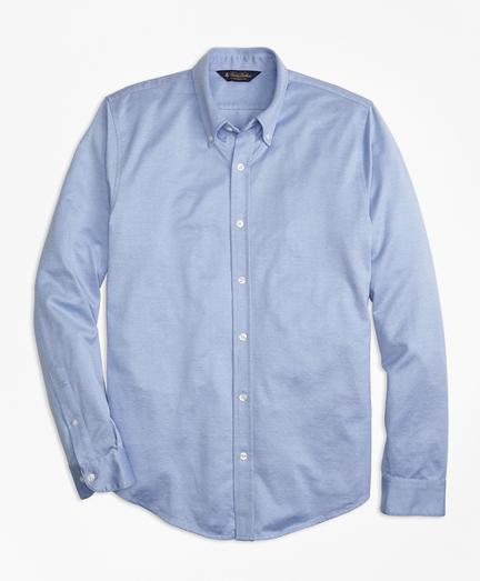 Dot Jacquard Button-Down Knit Shirt