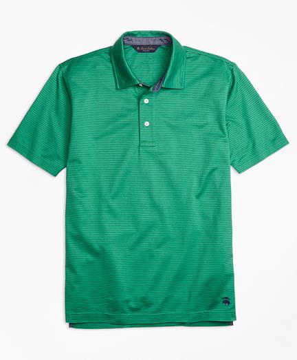 Slim Fit Jacquard Stripe Self-Collar Polo Shirt