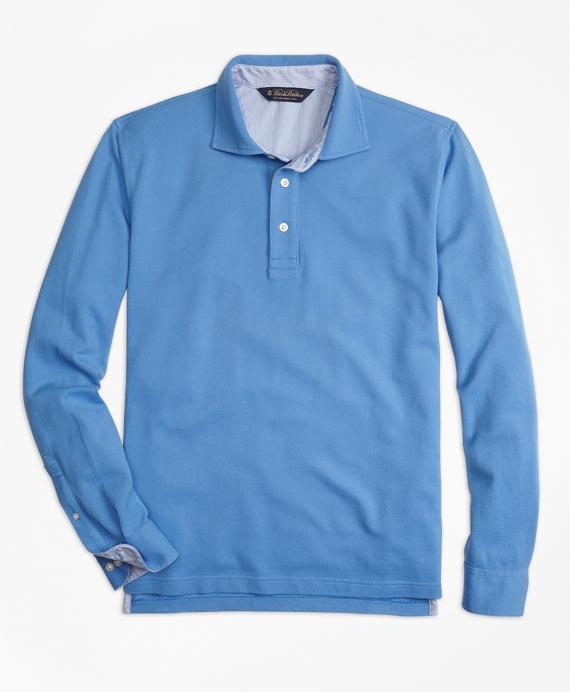 Vintage-Wash Long-Sleeve Polo Shirt
