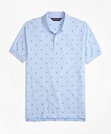 Slim Fit Oxford Sailboat Print Polo Shirt