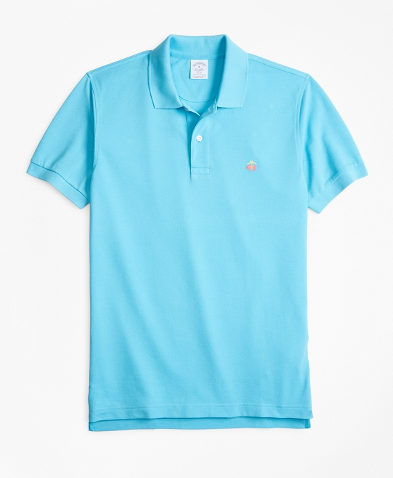 Slim Fit Supima® Cotton Performance Polo Shirt River Blue