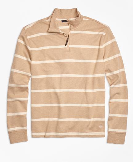 Supima® Cotton Interlock Stripe Half-Zip