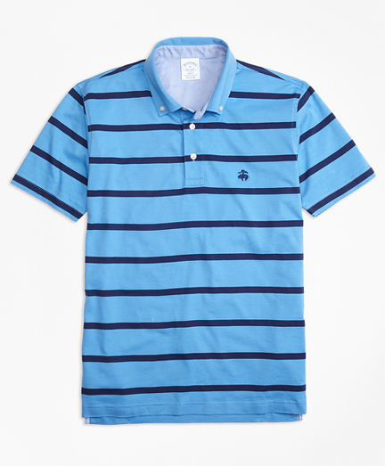 Supima® Jersey Stripe Button-Down-Collar Polo Shirt