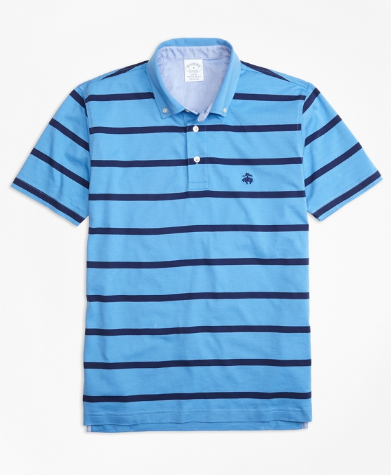Supima® Jersey Stripe Button-Down-Collar Polo Shirt - Brooks Brothers