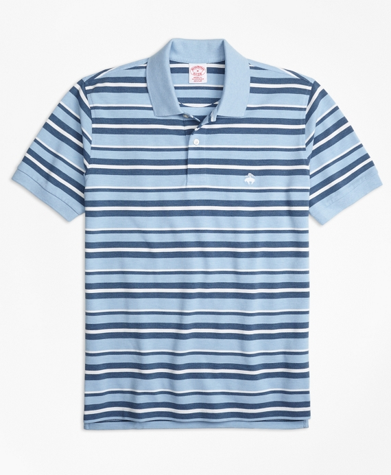 Original Fit Supima® Cotton Pique Varied Stripe Polo Shirt Blue