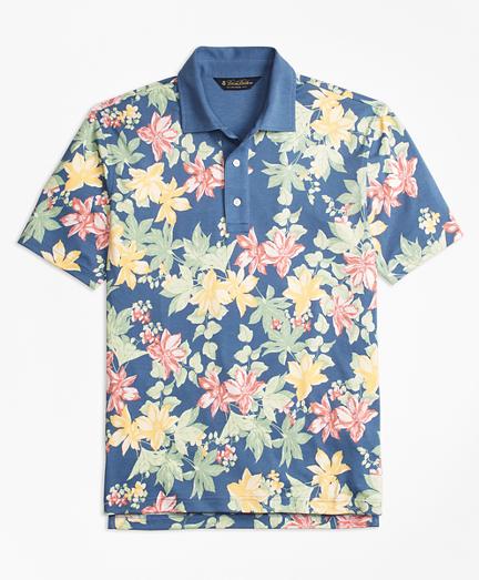 Slim Fit Interlock Tropical Print Polo Shirt