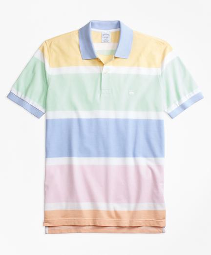 Slim Fit Supima® Cotton Road Map Stripe Polo Shirt