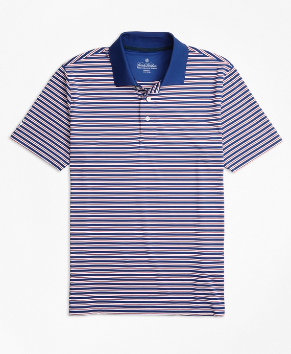 Performance Series Outlined Stripe Polo Shirt Navy-White-Red