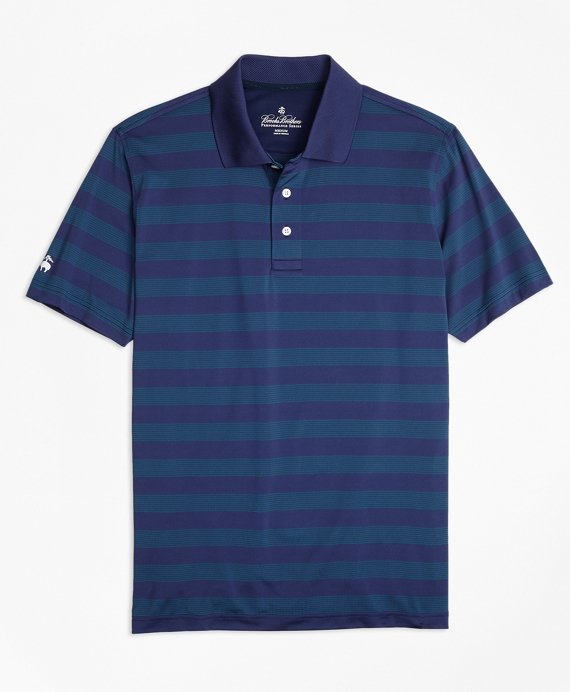 Performance Series Multi-Stripe Polo Shirt Navy-Blue