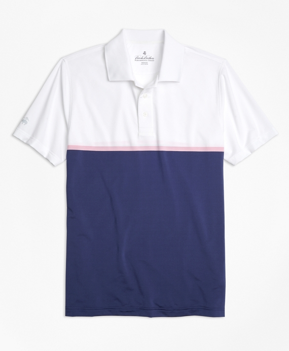 Performance Series Engineered Stripe Polo Shirt White-Blue