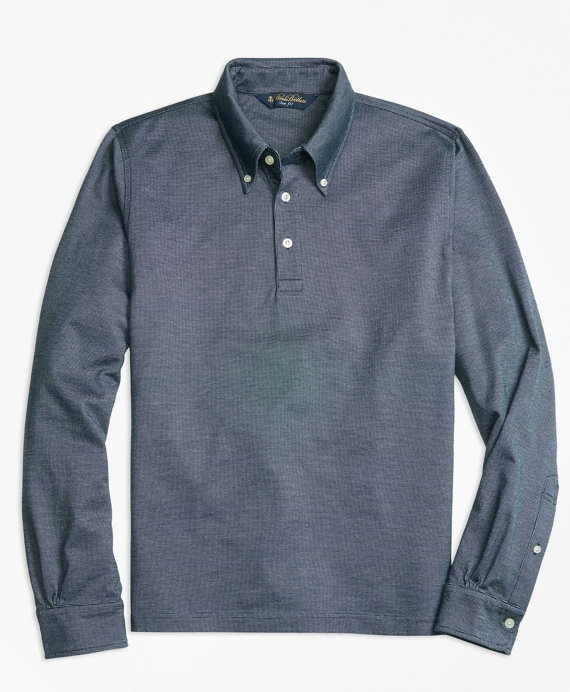 Slim Fit Long-Sleeve Bird's-Eye Polo Shirt