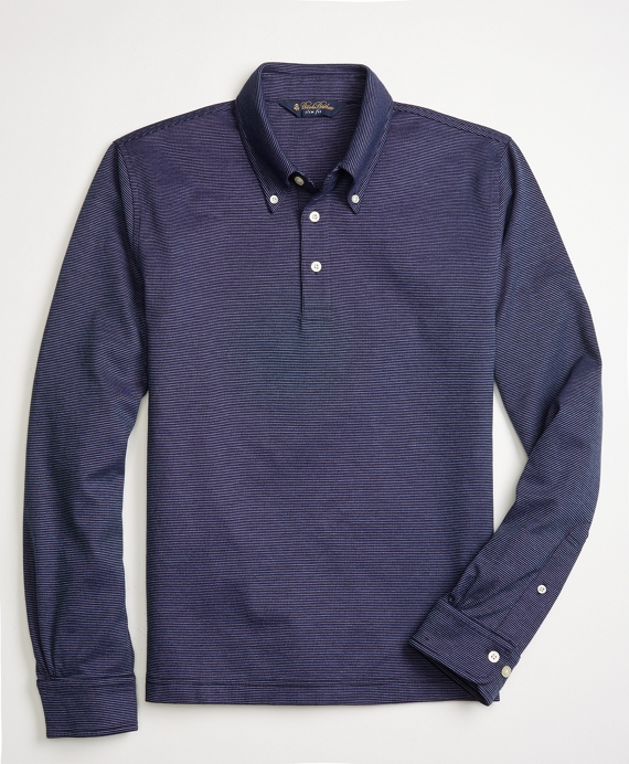 Slim Fit Long-Sleeve Feeder Polo Shirt Navy