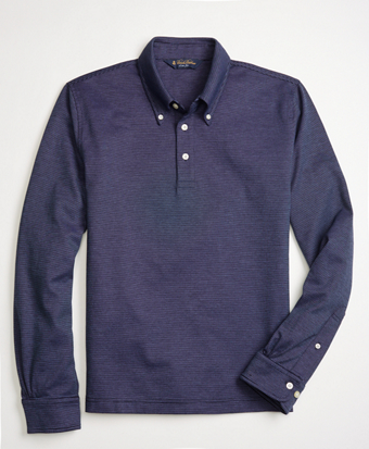 Slim Fit Long-Sleeve Feeder Polo Shirt