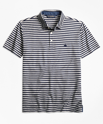 Slim Fit  Stripe Self-Collar Polo Shirt