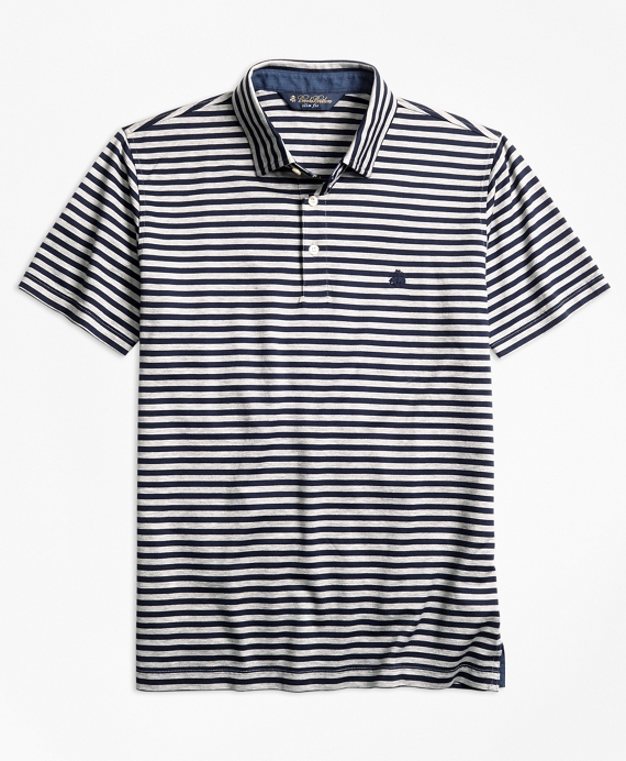 Slim Fit  Stripe Self-Collar Polo Shirt Navy-Grey