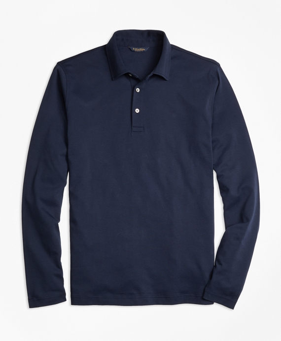 Original Fit Supima® Cotton Long-Sleeve Polo Shirt Navy