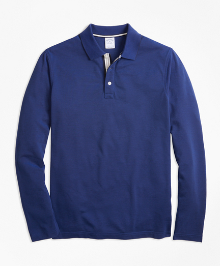 Slim Fit Long-Sleeve Supima® Oxford Polo Shirt