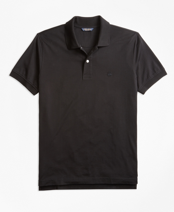 Slim Fit Supima® Compact Jersey Polo Shirt Black