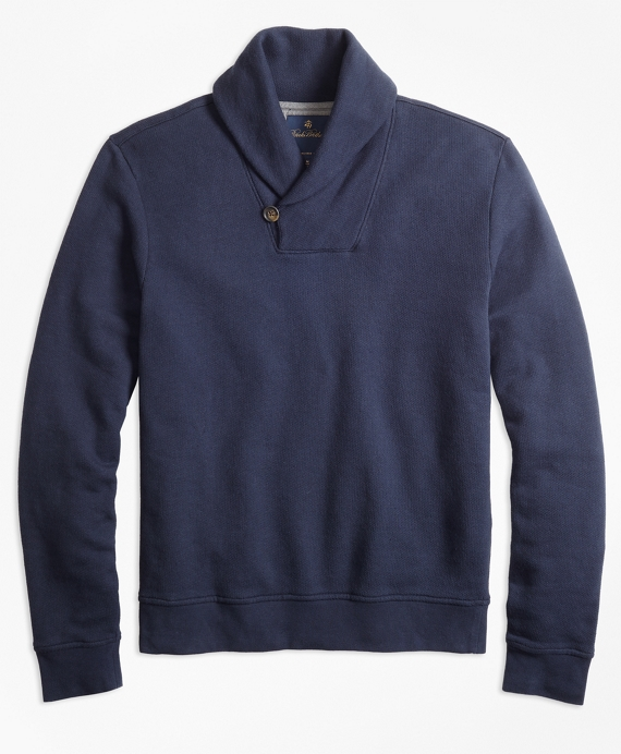 French Terry Shawl Collar Fleece Navy