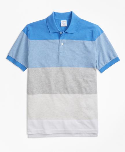 Slim Fit Supima® Cotton Large Stripe Polo Shirt