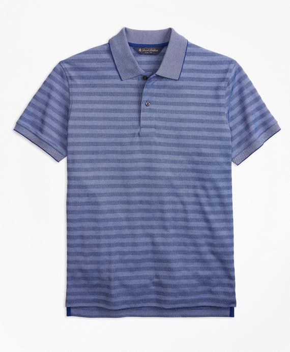 Slim Fit Textured Stripe Polo Shirt Blue