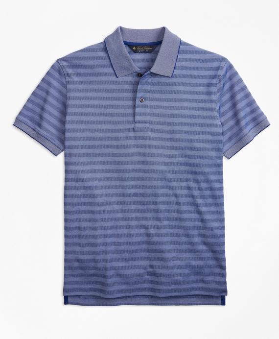 Original Fit Textured Stripe Polo Shirt Blue
