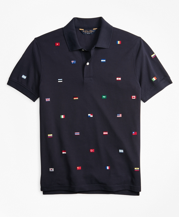 Slim Fit Flag Embroidered Polo Shirt Navy