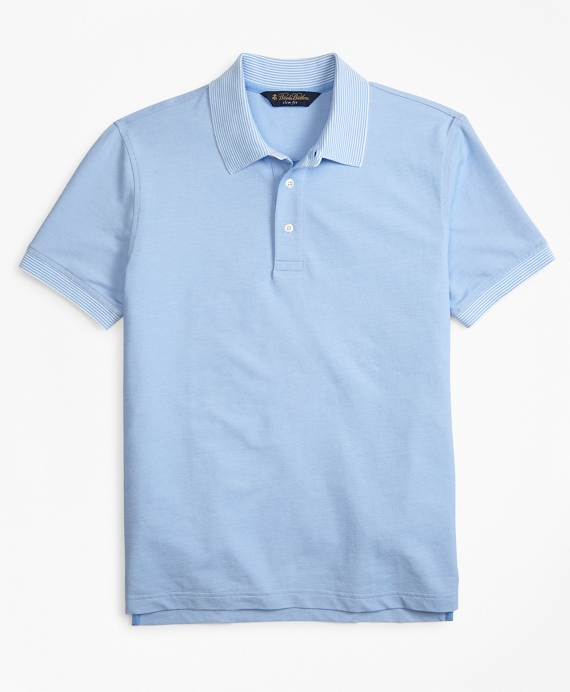 Slim Fit Cotton and Linen  Stripe Collar Polo Shirt Light Blue
