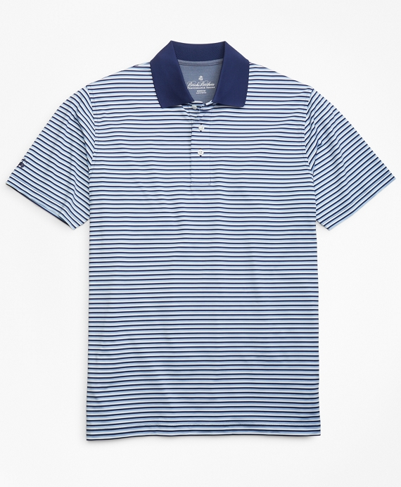 Performance Series Mini-Feeder Stripe Polo Shirt Blue