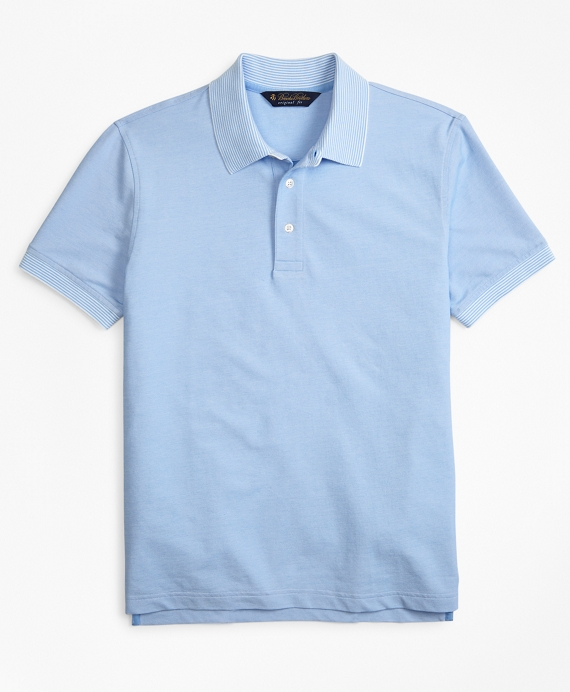 Original Fit Cotton and Linen  Stripe Collar Polo Shirt