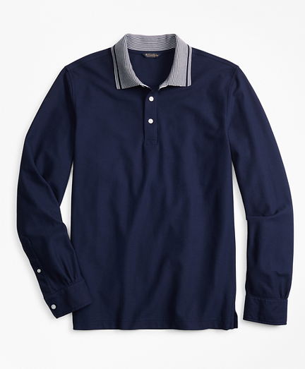 Two-Tone Long-Sleeve Polo Shirt