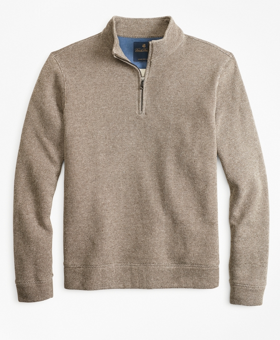 Brushed French Terry Half-Zip Brown