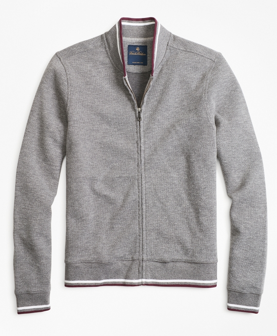 Zip-Front Knit Jacket Grey