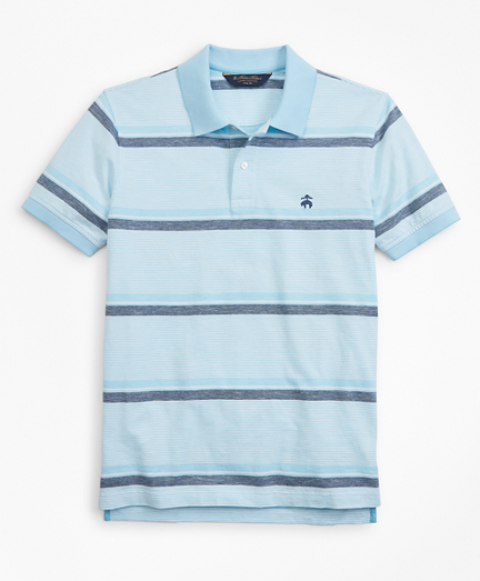 Slim Fit Cotton and Linen Horizontal Stripe Polo Shirt
