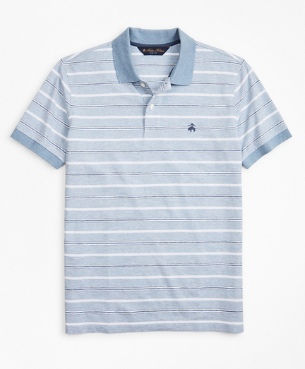 Slim Fit Cotton and Linen Stripe Polo Shirt