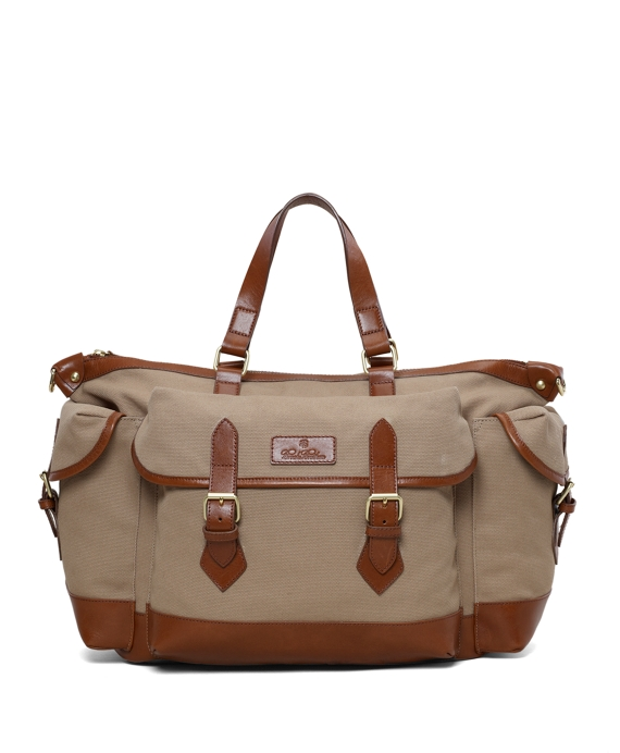 Canvas and Leather Duffel Beige