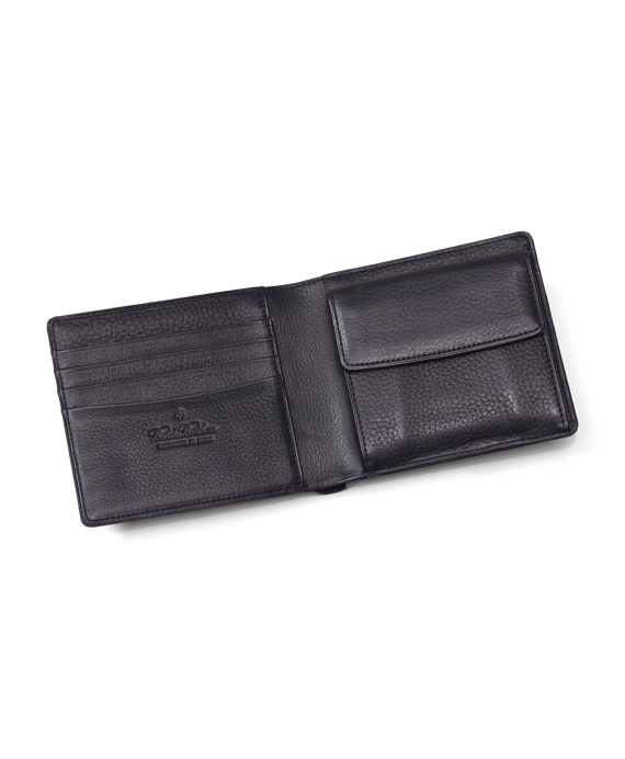 Short Leather Wallet with Coin Case Black