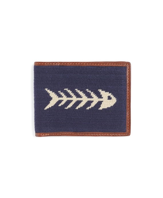 Needlepoint Fish Billfold Navy