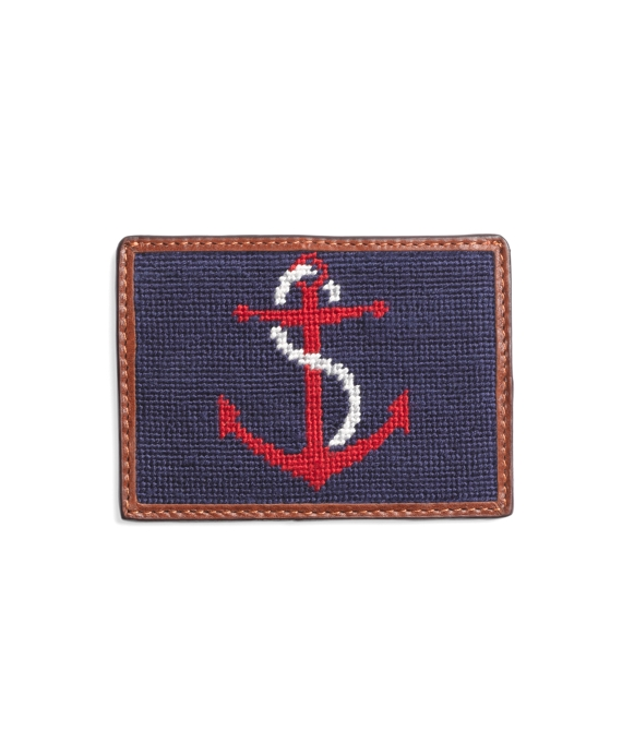 Needlepoint Anchor Card Case Red-Navy