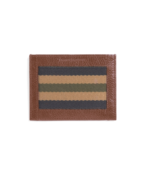 Canvas and Leather Stripe Card Case Brown Multi