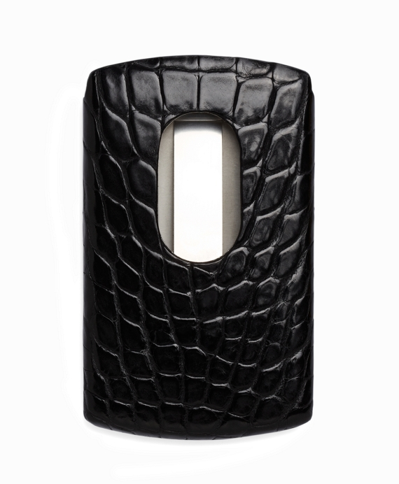 Crocodile-Covered Stainless Steel Card Case Black
