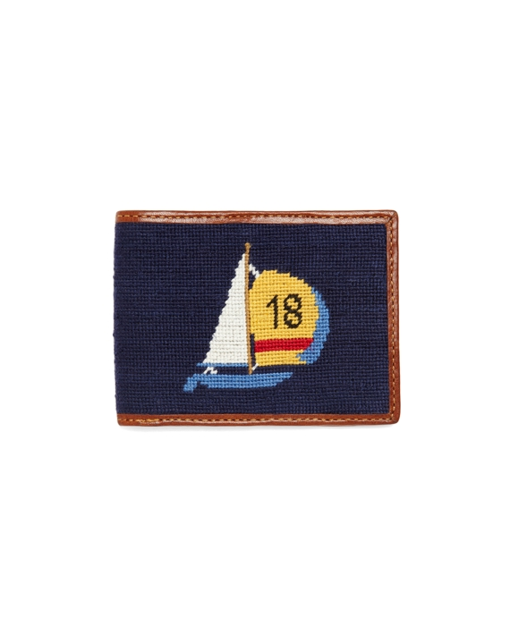 Needlepoint Sailboat Billfold Navy-Tan