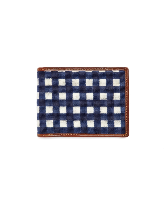 Needlepoint Gingham Billfold Navy-White
