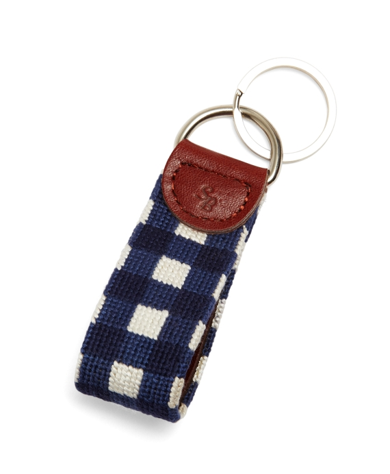 Needlepoint Gingham Key Fob Navy-White