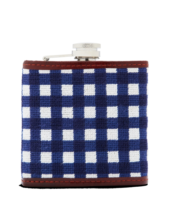 Needlepoint Gingham Flask Navy-White
