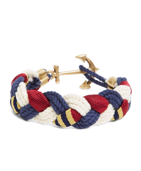 Kiel James Patrick BB#1 Braided Bracelet Navy-Natural-Burgundy