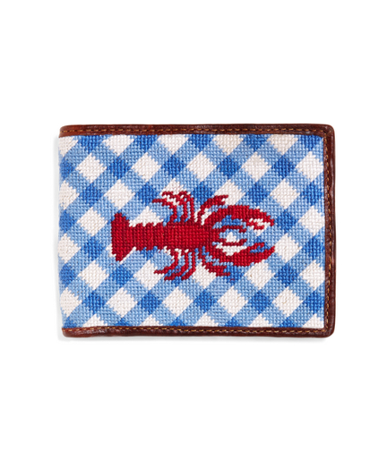 Lobster Gingham Needlepoint Wallet