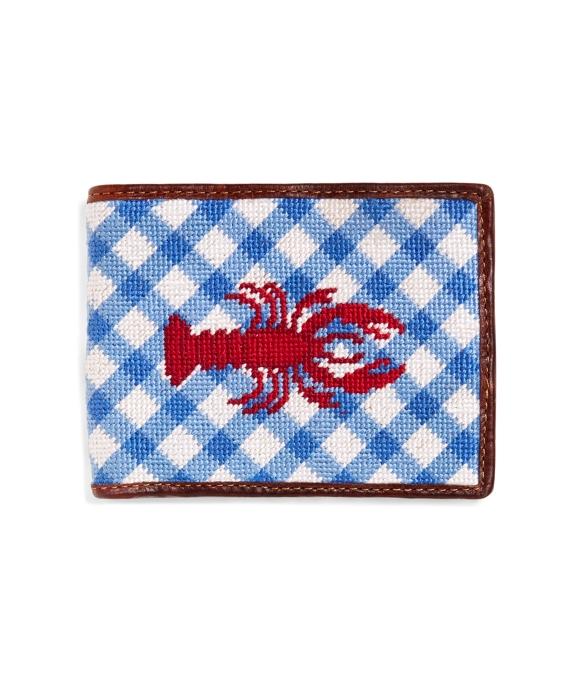 Lobster Gingham Needlepoint Wallet Blue