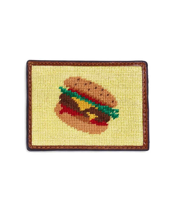 Burger Needlepoint Card Case Yellow