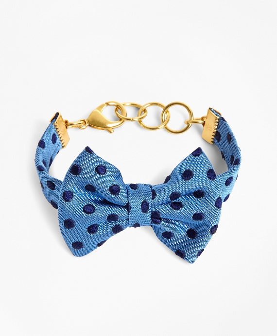 Kiel James Patrick Blue and Navy Polka Dot Bow Tie Bracelet Blue-Navy